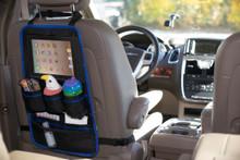 Back of Seat Car Organizer - Grey with Blue Trim