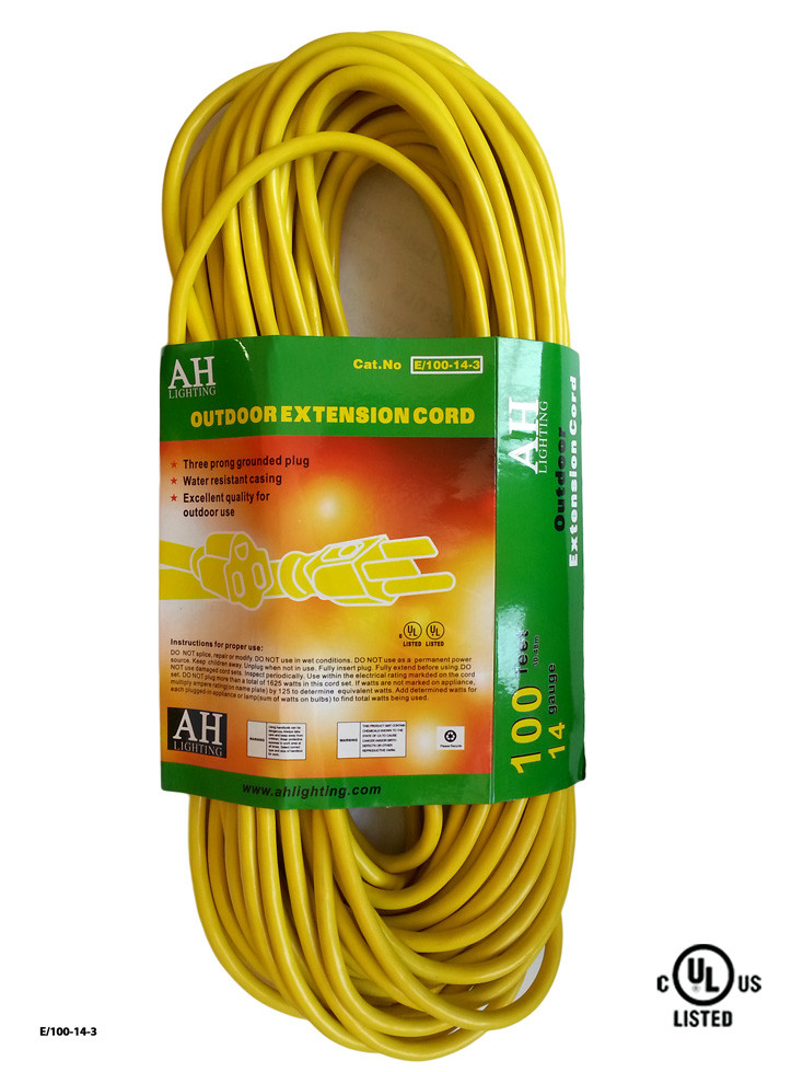 100 Foot Yellow Extension Cord Ul E 100 14 3
