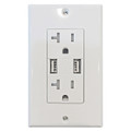 Decorative 20Amp Tamper Resistant Duplex USB Charger White