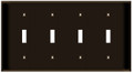 (WS4BRN) Toggle Switch Wall Plate 4-Gang Brown