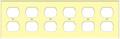 (WR6I) Duplex Receptacle Wall Plate 6-Gang Ivory