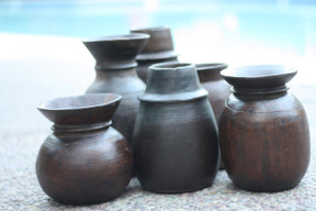 Vintage Handcrafted Wood Pots 10'-12'