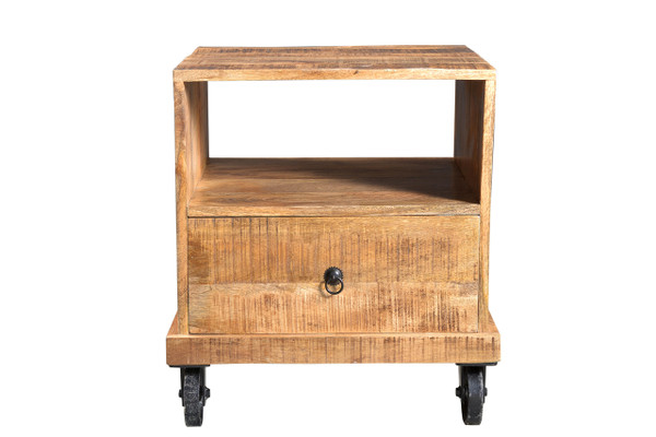 ... Industrial End Table With Wheels. Image 1