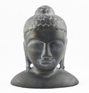 HandCrafted Ceramic Buddha head statue - Faux bronze patina finish