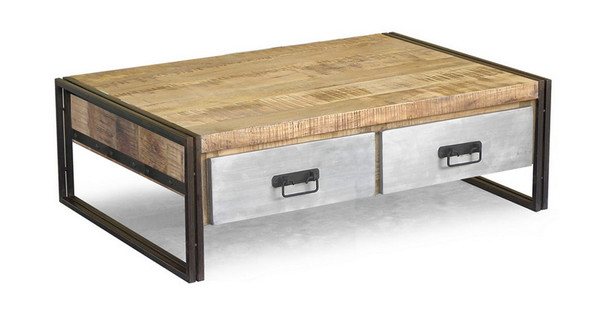 reclaimed wood coffee table with metal drawers
