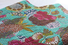 Kantha Throw - Light Green