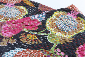 Kantha Throw - Black