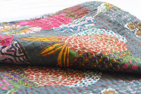 Kantha Throw - Grey