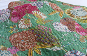 Kantha Throw - Green