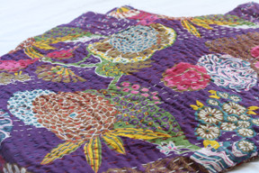 Kantha Throw - Purple