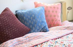 Organic Cotton Block Print Quilt - Pink