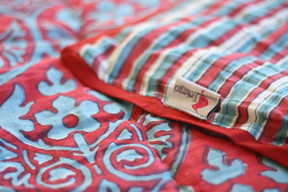Organic Cotton Block Print Quilt - Red