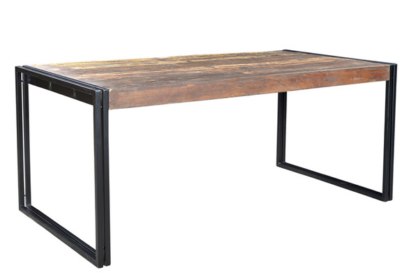 wood and metal dining table with bench monterrey industrial loft iron reclaimed adjustable legs image wrought room sets