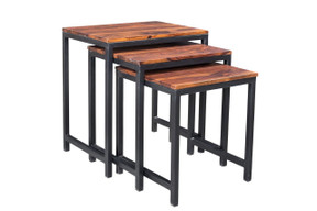 Solid Seesham Wood Metal Nesting Table