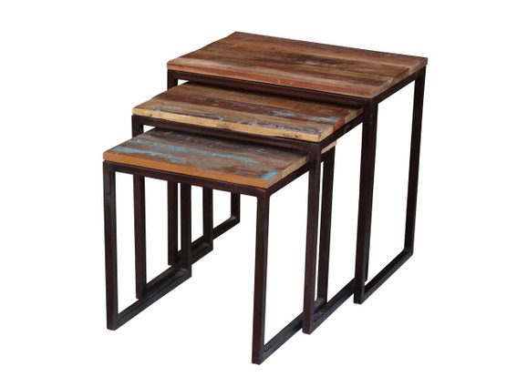 Old Reclaimed Wood Metal Nesting Table Timbergirl