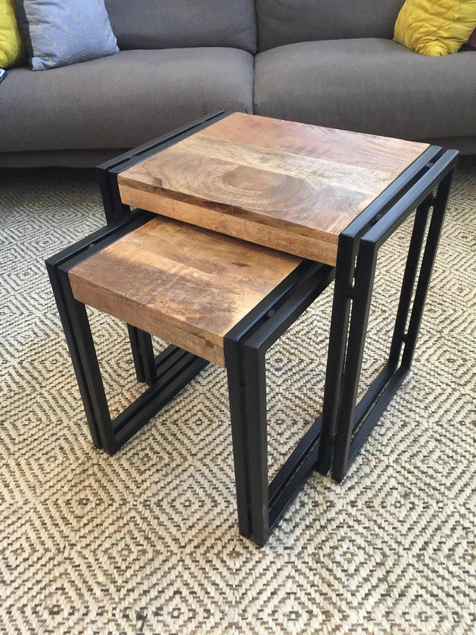 Reclaimed wood metal nesting table set of timbergirl