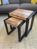 Reclaimed Wood Metal Nesting Table Set of 2