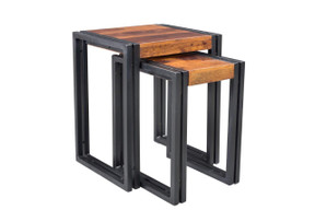 Solid Seesham Wood Metal Nesting Table Set of 2