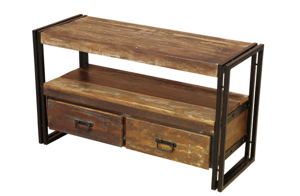 Old Reclaimed Wood Tv Cabinet With Double Drawers Timbergirl