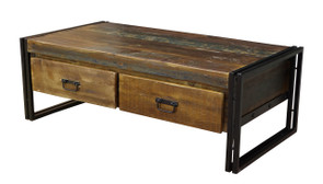 Old Reclaimed wood coffee table with doube drawers