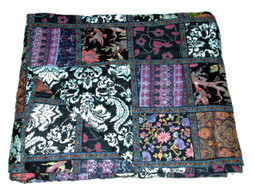Organic Cotton Block Print Patchwork Quilt Black