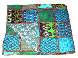 Timbergirl Organic Cotton Block Print Patchwork Quilt Green
