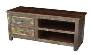Timbergirl Reclaimed Wood TV cabinet with Double Drawers and Shelves