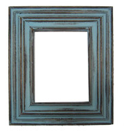 Carved Reclaimed Wood Picture Frame - Sea Blue