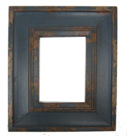 Carved Reclaimed Wood Picture Frame - Dark Blue