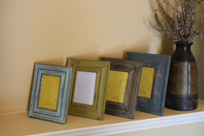 4 Piece Carved Reclaimed Wood Picture Frame Set
