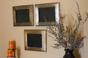 3 Piece Brass Clad Wood Picture Frame Set