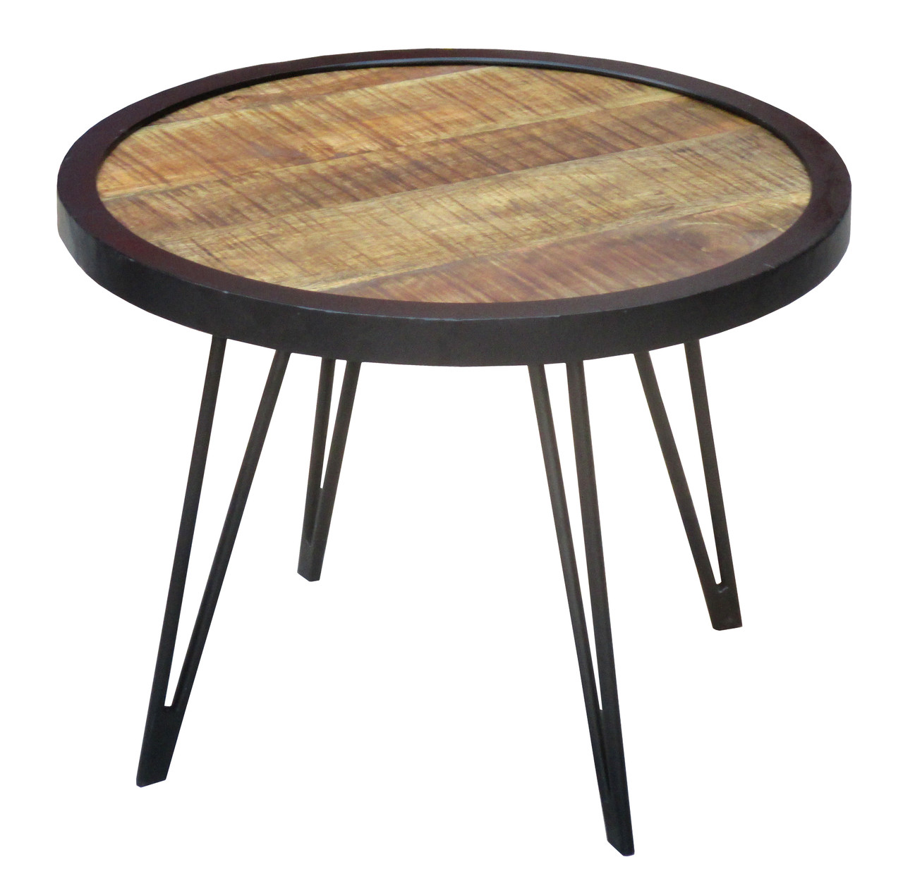 Reclaimed Wood Industrial Round Coffee Table: Reclaimed Wood Round Coffee Table