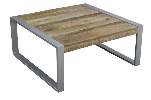 HOT Timbergirl Reclaimed Wood Coffee Table With Silver Legs