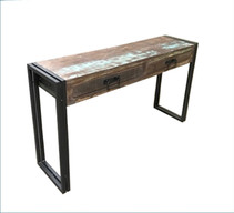 Timbergirl Old Reclaimed Wood Console Table with Metal Legs