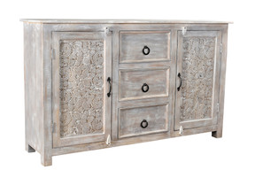 Timbergirl Hand-carved Antique Finish 2-door Sideboard Cabinet