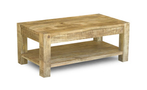 Reclaimed Mango Wood Coffee Table with Shelf