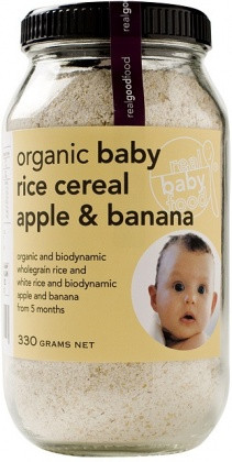 Real Good Food organic Baby Rice Apple Banana Cereal 330g. Biodynamic organic wholegrain and white rice.