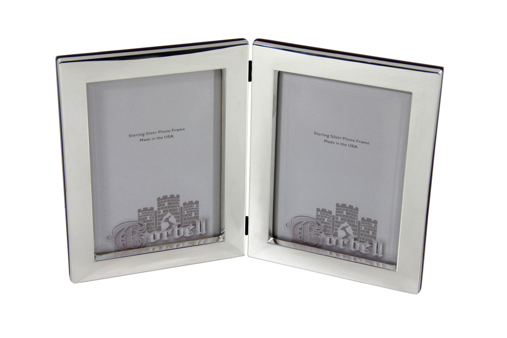 """Heavy Plain Double Sterling 5"""" x 7"""" Photo Frame with Wood Back & Beveled Glass"""