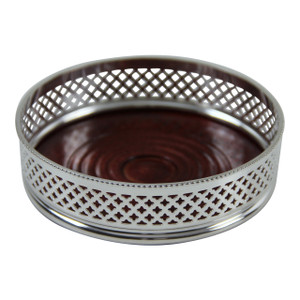 Wine Coaster - Double Diamond Design English Silver Plate