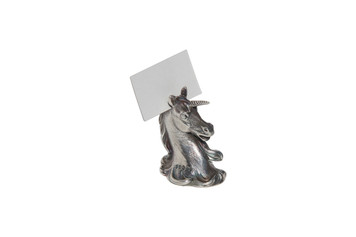 English Unicorn Silver Plated Placecard Holder