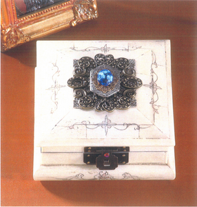 Elegant Bone Box with a Faceted Sapphire Crystal Hinged with Beveled Edges