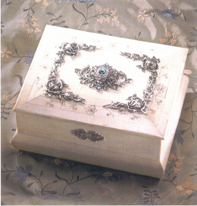 Large Elegant Bone Box with Silver Roses, Lift off Lid