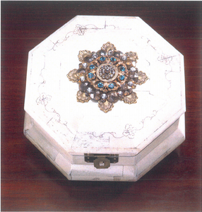 Stunning Octagon Bone Box with Crystals