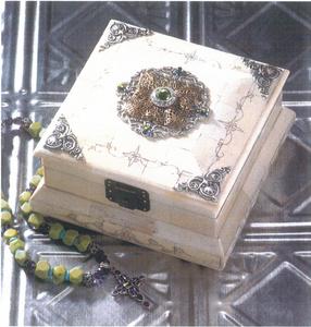 Embellished Box Personal Treasures Bone Box with Peridot Crystals