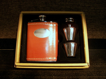 Flask Tan Leather 6oz with Funnel & 2 Cups Boxed