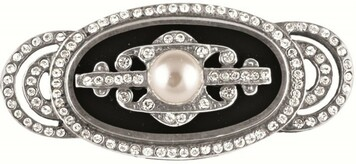 Black enamel, pearl and crystal brooch