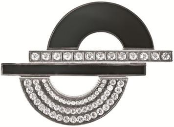Black enamel and crystal Art Deco semi-circles brooch and pendant
