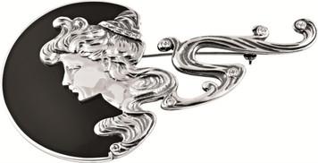 Art Nouveau lady set with crystals on black enamel semi-circle brooch