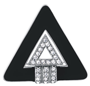 Black enamel and crystal Art Deco triangular brooch and pendant