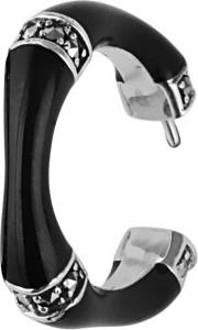 Black enamel and marcasite set bamboo style half hoop post earrings